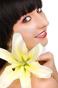 Young Woman With Flower Royalty Free Stock Photography - Image: 7930777