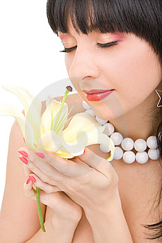 Young Woman With Flower Royalty Free Stock Photography - Image: 7930847