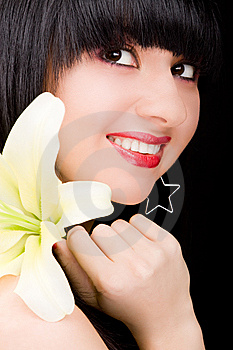 Young Woman With Flower Royalty Free Stock Images - Image: 7930939