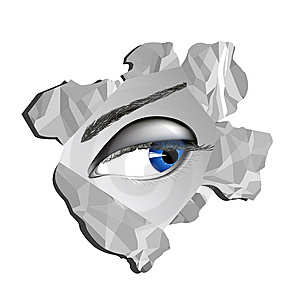 Eye Looking Through Paper Hole Stock Photos - Image: 7931023