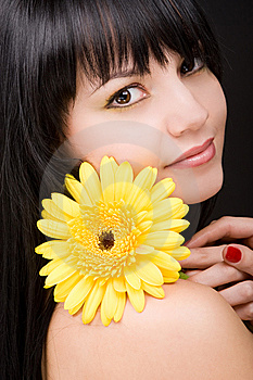 Young Woman With Flower Royalty Free Stock Photos - Image: 7931248