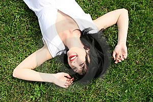 Woman Rest On The Grass Royalty Free Stock Photography - Image: 7931427