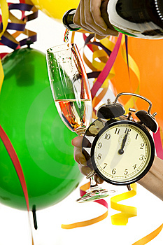 New Year With Champagne And Clock Royalty Free Stock Image - Image: 7931446