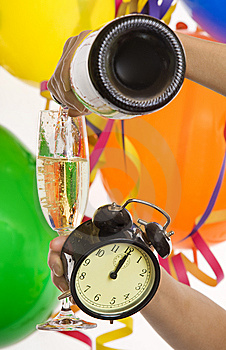New Year With Champagne And Clock Royalty Free Stock Photography - Image: 7931477