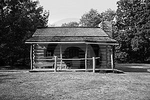 Black & White Log Cabin Royalty Free Stock Image - Image: 7934426