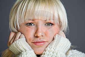 Lovely Blond Woman With A Serious Look Royalty Free Stock Images - Image: 7934529