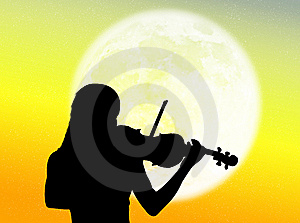 Violinist In The Moon Royalty Free Stock Photos - Image: 7935078