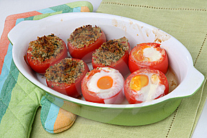 Baked Filled Tomatoes Cut In Half Royalty Free Stock Photography - Image: 7935767