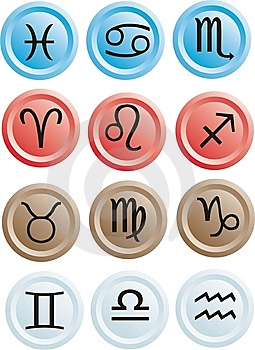 Buttons With The Zodiac Stock Image - Image: 7936251