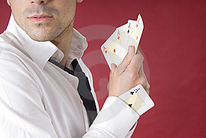 Poker Player With One Ace In His Sleeve Royalty Free Stock Photography - Image: 7937797