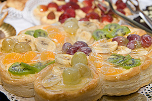 Sweet Cake With Grapes And Cherries Stock Image - Image: 7939381