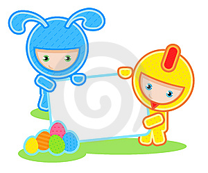 Easter. Kids And Banner Royalty Free Stock Images - Image: 7944219