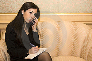 Young Business Woman On Mobile Phone Royalty Free Stock Photos - Image: 7944538