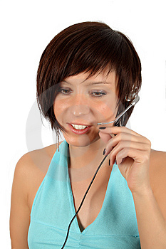 Young Girl With Head Phones Stock Image - Image: 7944811