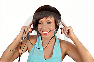 Young Girl With Head Phones Stock Photo - Image: 7944830
