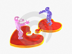 3D Mans On Puzzle Hearts Stock Photography - Image: 7945722