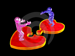 3D Mans On Puzzle Hearts Stock Photography - Image: 7945802