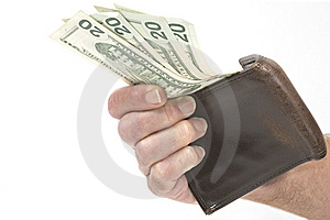 Hand Holding Wallet With Twenty Dollar Bills Stock Photos - Image: 7947543
