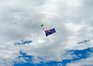 Skydiving With Aussie Flag Royalty Free Stock Image - Image: 7947546