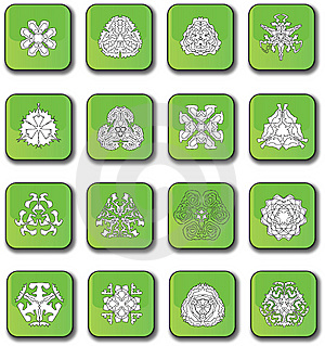 Green Glossy Snowflake Icons Stock Images - Image: 7947964