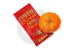 Mandarin Orange And Red Packet Stock Image - Image: 7948591