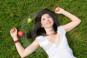 Woman Rest On The Grass Stock Photos - Image: 7951313