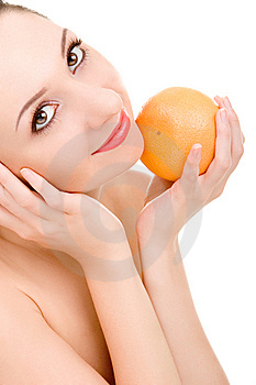 Pretty Woman With Orange Stock Image - Image: 7951581
