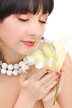 Young Woman With Flower Royalty Free Stock Photography - Image: 7951777