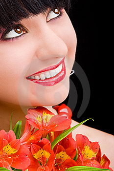 Young Woman With Flowers Royalty Free Stock Photos - Image: 7951898