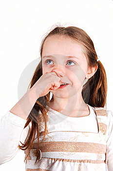 Girl With Finger In Nose. Royalty Free Stock Images - Image: 7953309