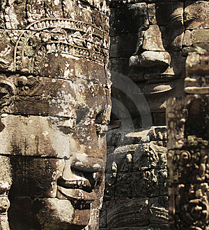 Stone Sculpture In Bayon Wat,Siem Reip,Cambodia Royalty Free Stock Photo - Image: 7954715