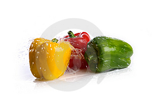 Fresh Peppers Under Pouring Water Stock Photo - Image: 7956500