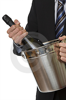 Man With Suit Champagne Bottle In Ice-pail Royalty Free Stock Images - Image: 7956679