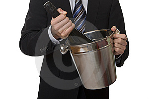 Man With Suit Champagne Bottle In Ice-pail Royalty Free Stock Photo - Image: 7956685