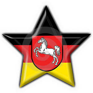 Lower Saxony Button Flag Star Shape Royalty Free Stock Image - Image: 7957696