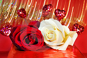 Love - Red And White Roses Over Glowing Lights Royalty Free Stock Image - Image: 7959046