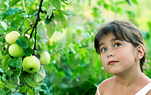 Girl And Apple Royalty Free Stock Photo - Image: 7964435