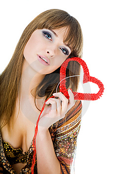 Young Blond With A Red Knit Heart Stock Images - Image: 7965524