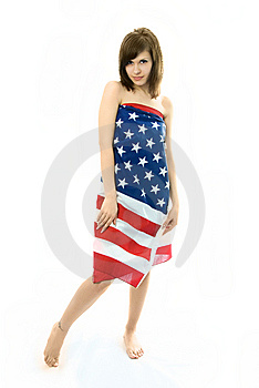 Beautiful Girl Wrapped Into The American Flag Stock Photography - Image: 7969232