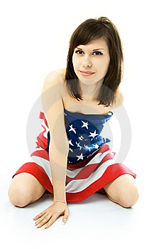 Woman Wrapped Into The American Flag On The Floor Royalty Free Stock Photos - Image: 7969288