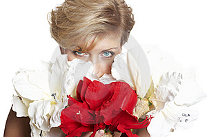 Portrait Beautiful Woman With Flower Isolated On W Stock Photos - Image: 7972883