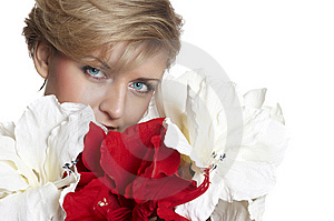 Woman With Flower.  Close Up Stock Photography - Image: 7973772