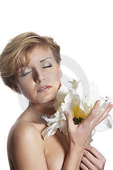 Woman And  Flower.  Close Up Royalty Free Stock Images - Image: 7973779