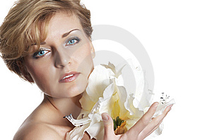 Woman And  Fresh  Flower.  Close Up Stock Photo - Image: 7973790