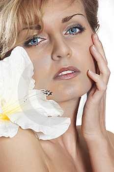 Woman And  Flower.  Close Up Royalty Free Stock Photography - Image: 7973837