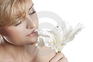 Woman And  Fresh  Flower.  Close Up Stock Photography - Image: 7973862