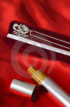Necklace In A Case And Spirits. Royalty Free Stock Image - Image: 7974796