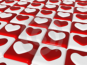 Chess Love, 3d Red, White Hearts, Chess-board Stock Photo - Image: 7974900