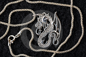 Dragon - A Silver Necklace. Royalty Free Stock Photography - Image: 7975787