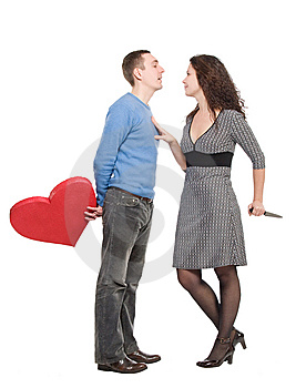 Couple Wiht Red Heart And Knife Stock Photography - Image: 7975922